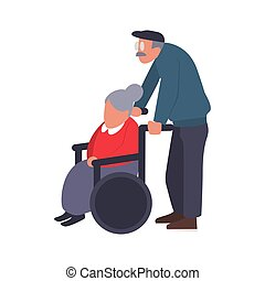 Mature couple on a walk. Care of a disabled person. Old man carries an elderly woman in a wheelchair. Cartoon vector illustration of senior couple.