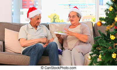 Mature couple on Christmas day