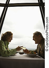 Mature couple on date.
