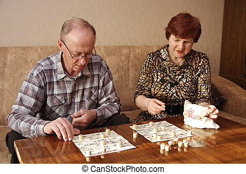 Mature couple playing a game