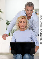 mature couple spending time together at home