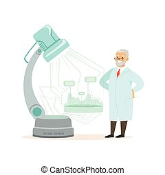 Mature doctor looking at media screen, scientist conducting research in modern laboratory concept vector illustration
