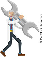 Mature Doctor Man Holding Spanner Wrench Concept