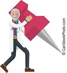 A mature doctor cartoon character mascot man holding a big thumb tack map drawing pin concept