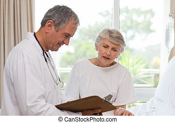 Mature doctor with his patient