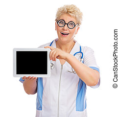 Mature doctor with tablet PC by stethoscope