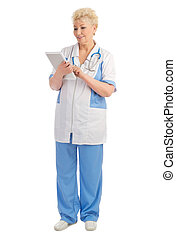 Mature doctor with tablet PC