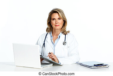 Mature doctor woman in the office.