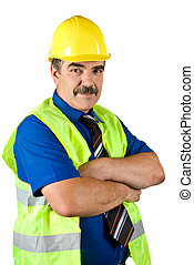 Mature engineer construction - Engineer construction wearing...
