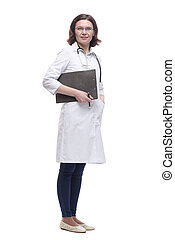 Mature female doctor with clipboard. isolated on a white