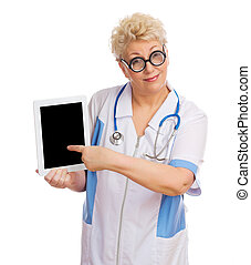 Mature funny doctor with tablet PC