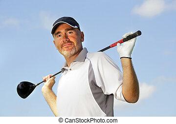 mature golf player