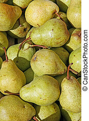 mature green and yellow pears for sale at the market