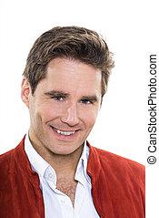 mature handsome man blue eyes smiling portrait