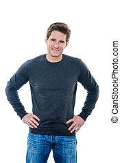 mature handsome man hands on hips - one caucasian man mature...