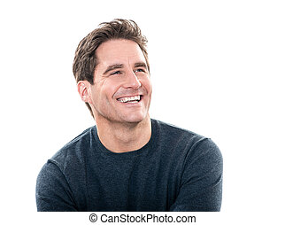 mature handsome man laughing portrait - one caucasian man...
