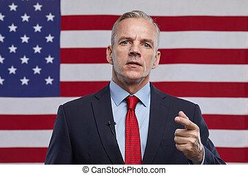 Mature Leader against American Flag