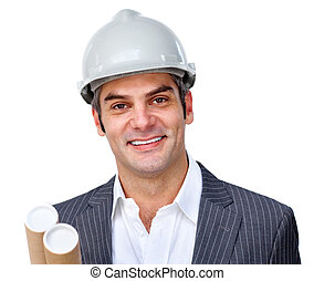 Mature male architect wearing a hardhat against a white...
