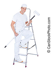 Painter With Paint Roller And Ladder