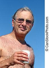 Mature man  at the beach