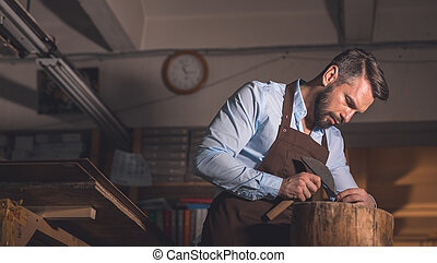 Mature man at work