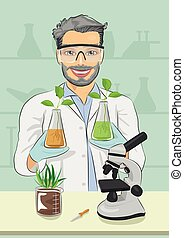 Mature man biologist with protective glasses holding two flasks with plants next to microscope in laboratory