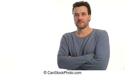 Mature adult Caucasian man changes from negative angry to positive happy, on white background