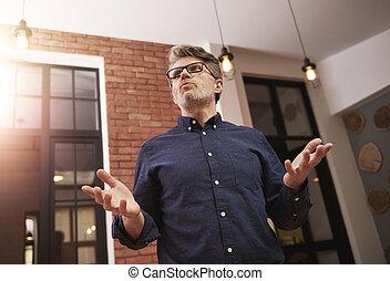 Mature man during the business speech