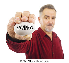 Mature man holds an egg with 'Savings' on it.