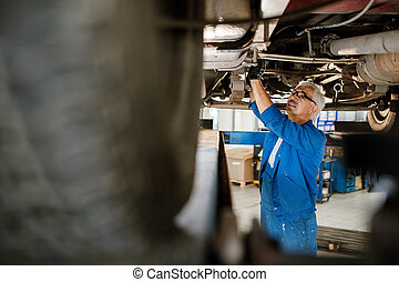 Mature man in workwear standing under broken machine while fixing details
