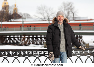 Mature man n St. Petersburg, Russia in winter