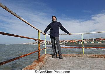 mature man seaside
