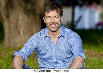 Mature Man Smiling At Home - Copy Space, 50s, Senior Adult,...