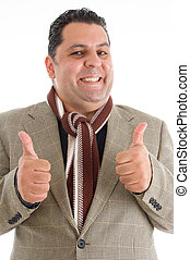 mature man with cheers up hand gesture isolated with white...