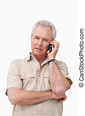Mature man with his cellphone