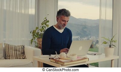 Mature man with laptop working in home office. - Handsome...