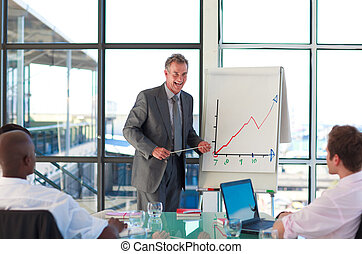 Mature manager reporting to sales figures to his team
