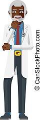 Mature Medical Doctor Cartoon Mascot