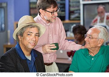 Mature Men Conversing
