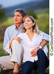 Mature middle age couple in love