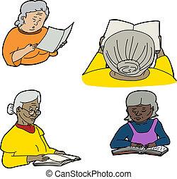 Drawings of senior women reading over white background