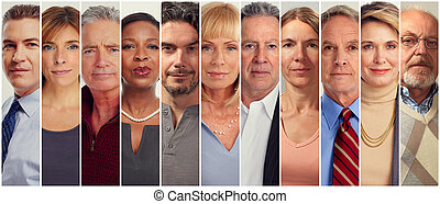 Set of serious adult mature aged people.