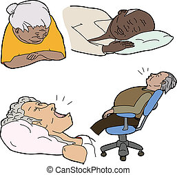 Various senior adults asleep over white background