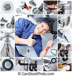 plumber - Mature plumber fixing a sink at kitchen