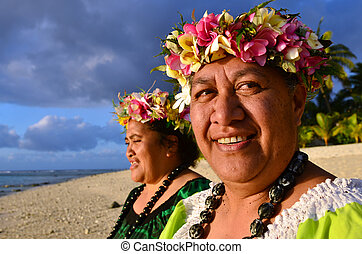 Mature Polynesian Pacific Island Women - Portrait of two...