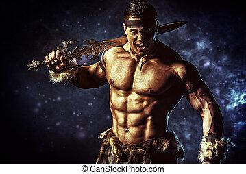 mature - Portrait of a handsome muscular ancient warrior...