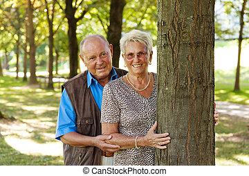 mature senior couple in love.