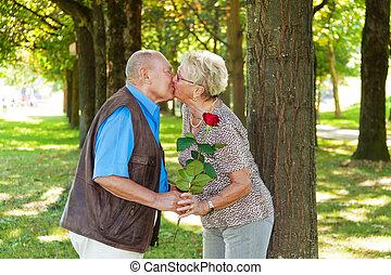 mature senior couple is in love.