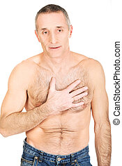 Mature shirtless man with chest pain