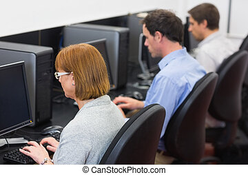 Mature students in the computer room